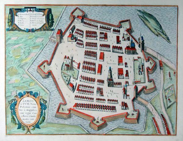 Замосць. Гравюра Георг Брауна и Франца Гогенберга (Hogenberga) (1617)